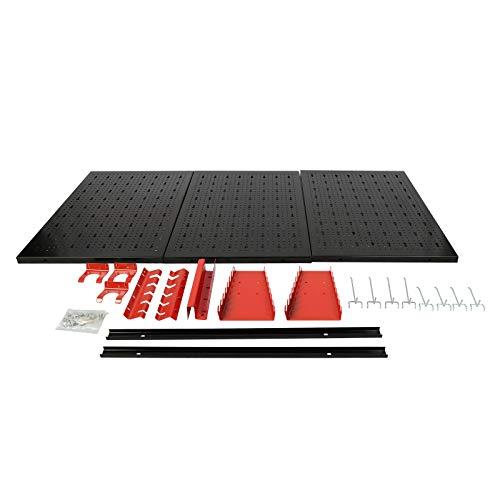 Pared de herramientas120x60cm para taller 3 paneles perforados con 17 ganchos diferentes