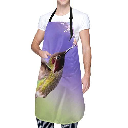 SUUJ Unisex Schürze, wasserdicht langlebig verstellbar Annas Kolibri Flug lila Blume Kochschürzen Herren Schürzen zum Kochen für Geschirrspülen BBQ Grill Restaurant Garden