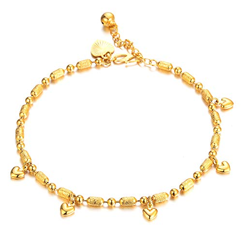 AOVITY Pulsera tobillera de oro rosa con infinito, ajustable y simple con colgante de amor