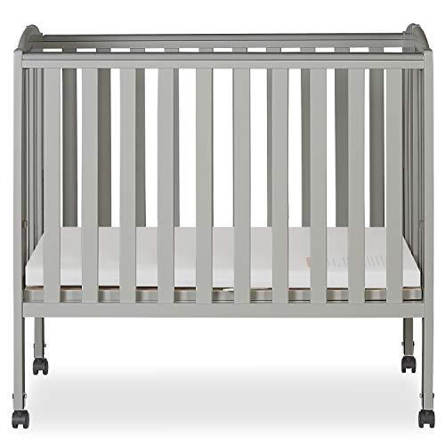 Dream On Me 2 in 1 Folding Portable Crib in Cool Grey