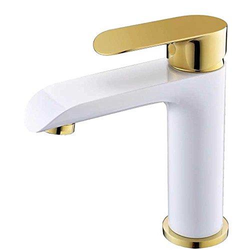 Sanlingo Waschtischarmatur Einhebel Armatur Mischbatterie Wasserhahn Weiss Gold
