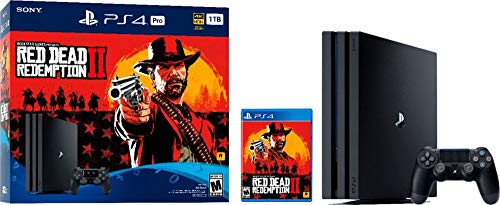 New Sony PlayStation 4 Pro 1TB Red Dead Redemption 2 Console Bundle with HDR Technology for 4K TV Gaming - Jet Black