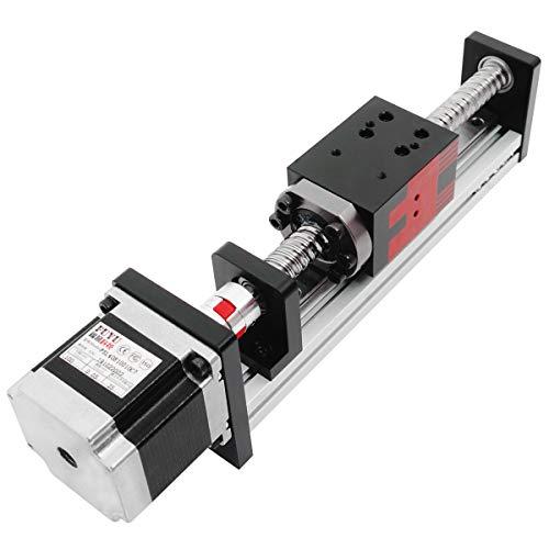 FUYU FSL40 Linear Guide Slide Table Ball Screw Motion Rail CNC Linear Guide Stage Actuator Motorized Nema 23 Stepper Motor[100mm Stroke]