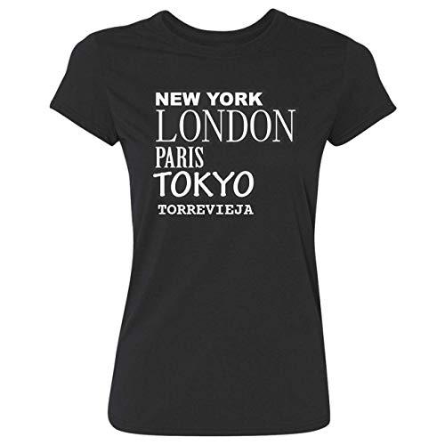 JOllify Frauen T-Shirt TORREVIEJA G3659 - Farbe: schwarz - Design 2: New York, London, Paris, Tokyo - Größe XS