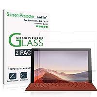 amFilm (2パック)Microsoft Surface Pro 7、Surface Pro 6、Surface Pro 5、およびSurface Pro 4用のスクリーンプロテクターガラス-ケースフレンドリー(簡単にインストール)強化ガラスフィルム(12.3インチ)