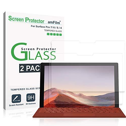 amFilm (2 Stück) Bildschirmschutzfolie Glas für Microsoft Surface Pro 7, Surface Pro 6, Surface Pro 5, & Surface Pro 4 - Hüllenfre&liche Panzerglas Schutzfolie (12,3 Zoll)
