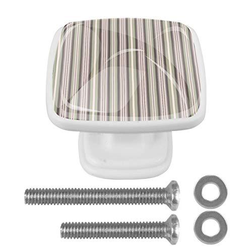 Paquete de 4 perillas de puerta de gabinete herrajes cuadrados para manijas de cajón con tornillo para cocina baño dormitorio guardería Rayas verticales 3x2.1x2 cm