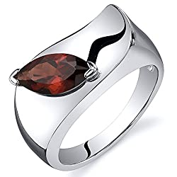 Sterling Silver Rhodium Nickel Finish Plum Red Marquise Shape Ring