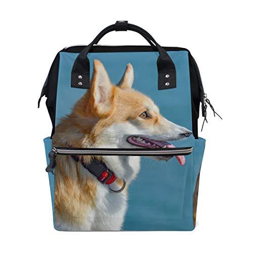 Animal Corgi Dog Funny Sac à dos à langer pour maman Grand sac à dos unisexe pour soins de bébé Sac à dos de voyage Sac à dos d'école Sac pour ordinateur portable