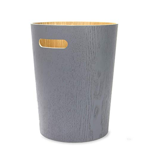 Papierkorb aus Holz | Büro & Schlafzimmer Papierkörbe |Papierkorb Für Unter Schreibtisch | Wohnzimmer Mülleimer | M&W (Grau)