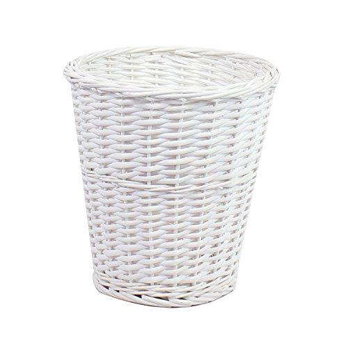 JVL Round Split Willow Waste Paper Basket, White, 28 x 28cm