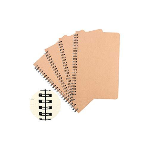 Ziyero A5 Kraft Cover Spiral Notebooks Liniertem Papier Tagebuch Classic Skizzenblock, Spiralverriegelung Bindung,50Blatt/100Seiten,für Tagebuch,Notizen,Hausaufgaben,Besprechungsprotokoll usw—4 Stk