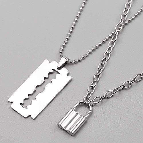huangxuanchen co.,ltd Necklace Punk Lock Necklace Stainless Steel Double Layer Padlock Necklace Chain with Blade Shaver Pendant Men S Gift Jewelry