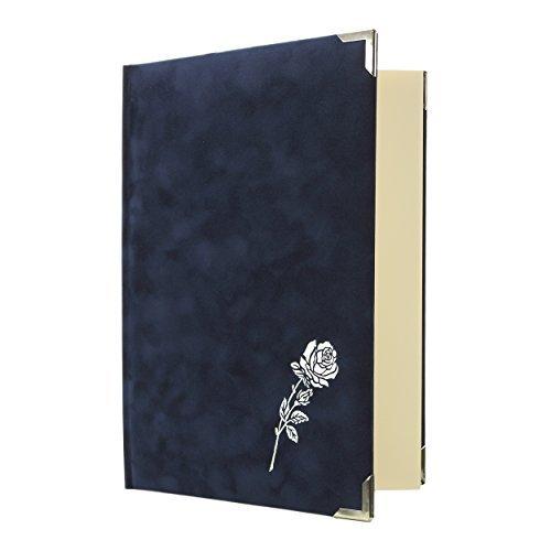 Libro di cordoglio con Rosa Velour 96 Lati - blu