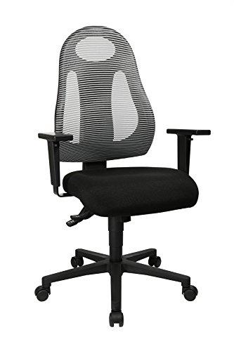 Topstar Free Art, ergonomischer Bürostuhl, Schreibtischstuhl, inkl. höhenverstellbarer Armlehnen, Stoff, Hellgrau/Schwarz