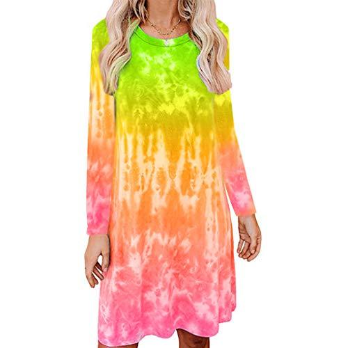 Toamen T Shirt Dress Women's O Neck Tie-dye Print Short/Long Sleeve Casual Loose Beach Party Swing A-line Mini Dress(T-Green,8)