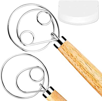 FUANRTK Danish Dough Whisk Bread Mixer?2 Pack Premium Stainless Steel Dutch Whisk With a Dough Scraper for Bread, Pastry or Pizza Dough - Perfect Baking