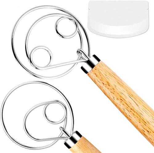 FUANRTK Danish Dough Whisk Bread Mixer,2 Pack Premium Stainless Steel Dutch Whisk With a Dough Scraper for Bread, Pastry or Pizza Dough - Perfect Baking