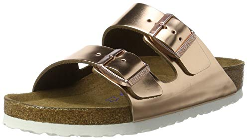 Birkenstock Classic Damen Arizona Leder Softfootbed Pantoletten, Braun (Metallic Copper), 39 EU