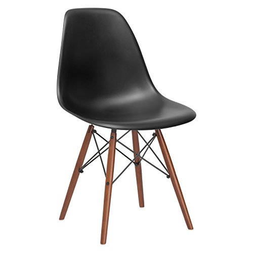Poly and Bark Vortex Modern Mid-Century Side Chair with Wooden Walnut Legs for Kitchen, Living Room and Dining Room, Black