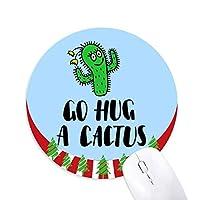 サボテンを抱く 円形滑りゴムのマウスパッドクリスマス飾り