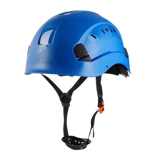 LIAN Schutzhelm-Bauarbeiter-Helm, ABS, mit 4-Punkt-Kinnriemen und Belüftungsöffnungen, verwendet for Kletter Operationen und Bauprojekte (Color : Blue)