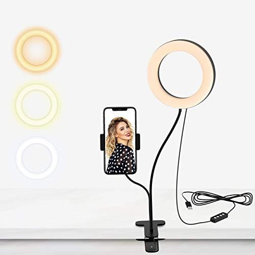 Selvim - Luce ad anello LED, 15 cm, con braccio flessibile, supporto 3 modalità di illuminazione, 4,5 W, 10 livelli di luminosità, alimentazione tramite cavo USB per trucco/video/fotografia YouTube