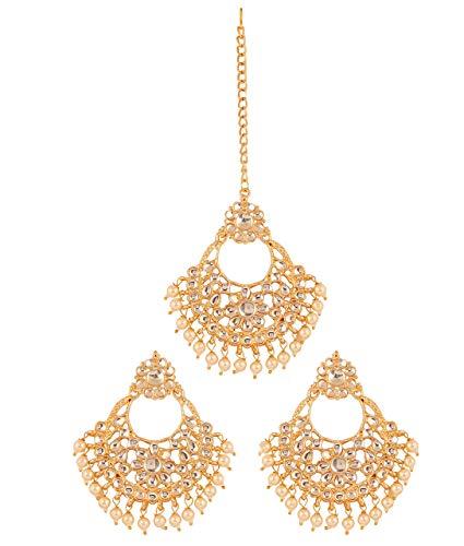 Touchstone Contemporay Kundan Kollektion Grand Hangings Kronleuchter Blumendesigner Schmuck Ohrringe Mangtika Combo für Damen Mehrfarbig