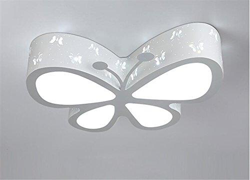 Malovecf Plafonnier LED pour chambre d'enfant - Plafonnier original en forme de papillon - Éclairage, jardin d'enfants, filles, princesse, éclairage d'ambiance - 50 x 40 x 10 cm, 24 W, lumière blanche Enfant Weiß