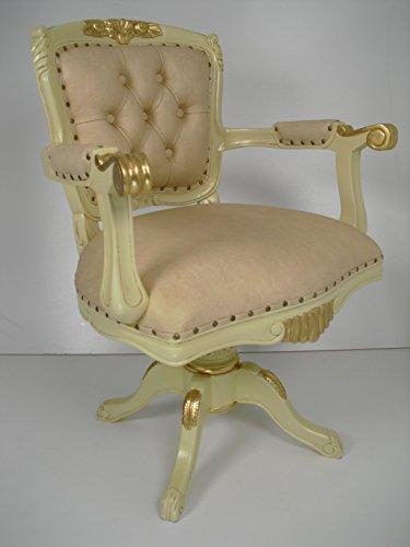 Chefsessel, Drehsessel Art Chesterfield in elfenbeinfarben/creme mit Goldblattauflagen, sehr exclusive Aufmachung.