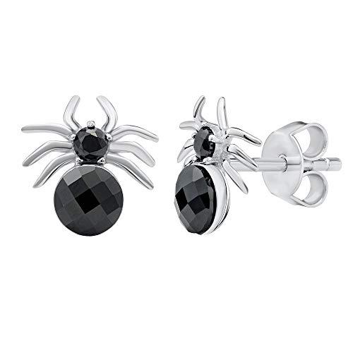 SILVEGO Damen Ohrringe aus 925 Sterling Silber Schwarze Spinne mit Swarovski® Crystals