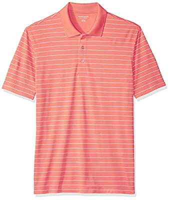 Amazon Essentials Men's Regular-Fit Quick-Dry Golf Polo Shirt, Coral Stripe, Large
