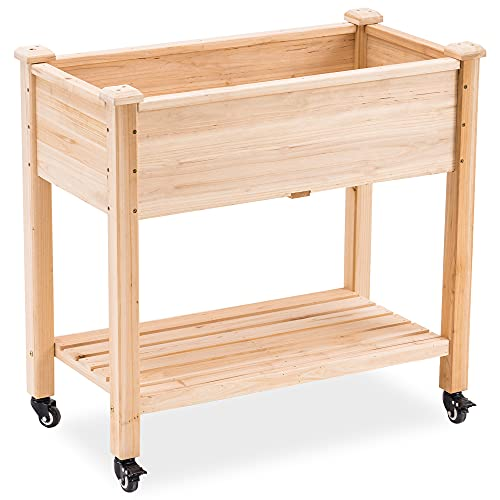 """Mcombo Raised Garden Bed, Outdoor Wood Elevated Planter Box Kit on Wheels with Legs, Storage Shelf for Vegetables, Herb and Flowers, 34"""" x 18"""" x 30"""", 6059-0676"""