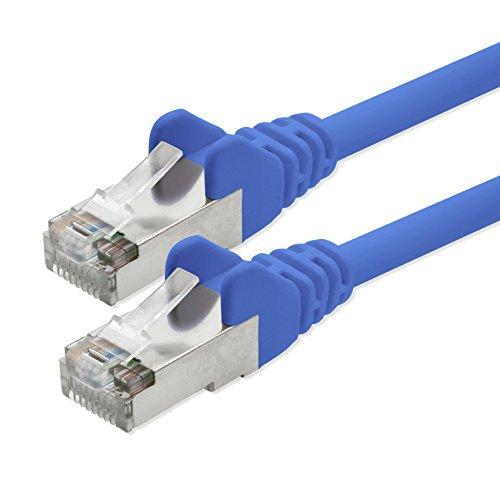 1aTTack kabel sieciowy CAT5 5 m - niebieski - 1 sztuka kabel krosowy Cat 5 złącze FTP Rj45 kompatybilne z CAT6 CAT7 przełącznik panel krosowy Internet DSL