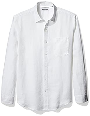 Amazon Essentials Men's Regular-Fit Long-Sleeve Linen Shirt, White, Medium