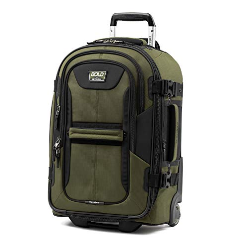 Travelpro Bold-Softside Expandable Rollaboard Upright Luggage, Olive/Black, Carry-on 22-Inch
