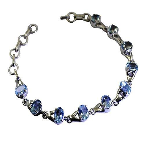 Gemsonclick Pulseras inspiradoras de plata de ley con topacio azul natural para mujer, con piedra natal de 16.5 a 20.3 cm