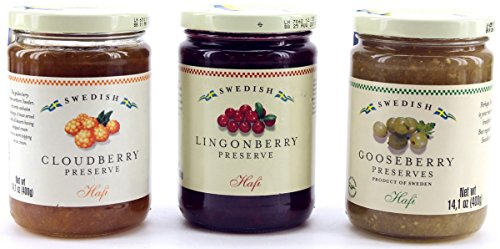 Hafi Variety Pack Preserves Lingonberry, Wild Cloudberry, Gooseberry 14.1-ounce Jars (Pack of 3)