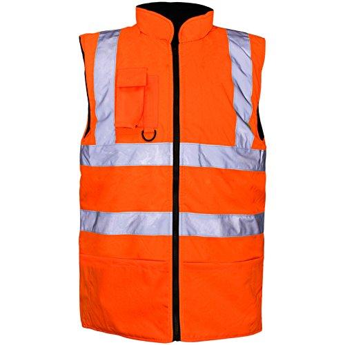 Heren Hi Viz Omkeerbare Fleece gevoerde Bodywarmer Waistcoat Gilet Zichtbaarheid Rail Herstel Auto Reparatie Garage Warm Spoorweg Reflecterende Strepen Mouwloze Jas Veiligheid Top EN471 Oranje Veiligheid