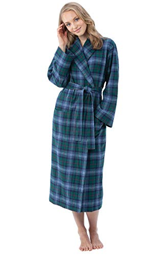 PajamaGram Flannel Robes for Women - Soft Yarn Dyed Plaid, Green, M/L, 8-14