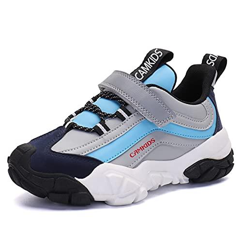 Boys Tennis Running Sport Shoes Waterproof Hiking Sneakers for Little/Big Kids Outdoor Non- Slip Lightweight Athletic Walking Footwear (Grey, Numeric_6_Point_5)