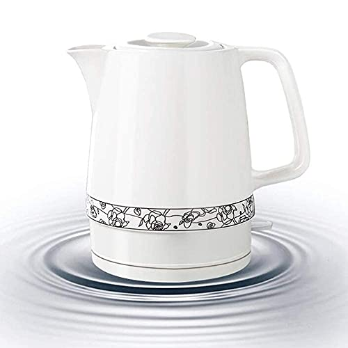 Tetera de agua inalámbrica, tetera eléctrica de cerámica blanca inalámbrica, jarra retro de 1,7 l, 1850 W hierve agua rápidamente para té, café, sopa, avena, base extraíble, protección para hervir en