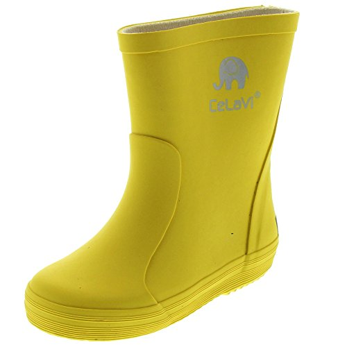 Celavi Kinder Unisex Wasserdichte Gummistiefel, 100% Naturkautschuk Regenstiefel, Größe: 28, Farbe: Gelb, 1147