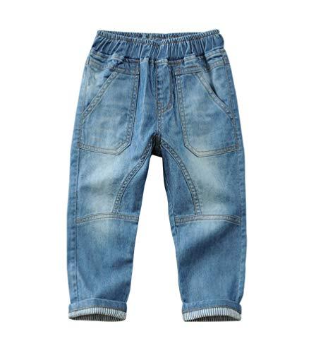 YOOY Jungen Jeans Slim Fit Kinder Jeanshose mit Elastischem Bund Frühjahr Herbst, Blau, 104-110 / Größe 110