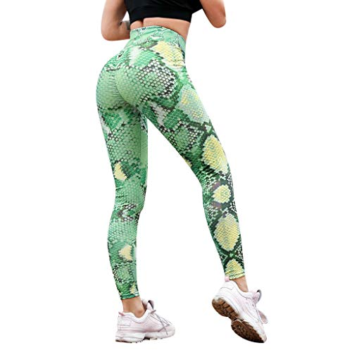Pantalones de Yoga Mujeres, SUNNSEAN Estampado de Serpiente Leggings de Cintura Alta Serpentine Women Yoga Pantalones Leggins de Malla Moda Pantalón de Chándal