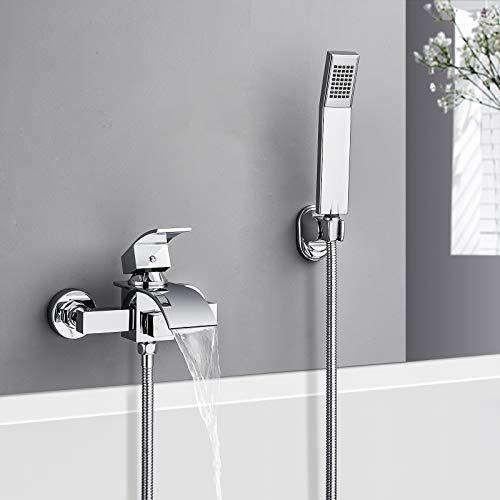 Badewannenarmatur mit Handbrause, WOOHSE Wasserfall Badewanne Wasserhahn Wannenarmatur mit Umsteller Aufputz Badarmatur - Einhand-Wannenbatterie mit 1,5m Duschschlauch für Bad Badezimmer Dusche