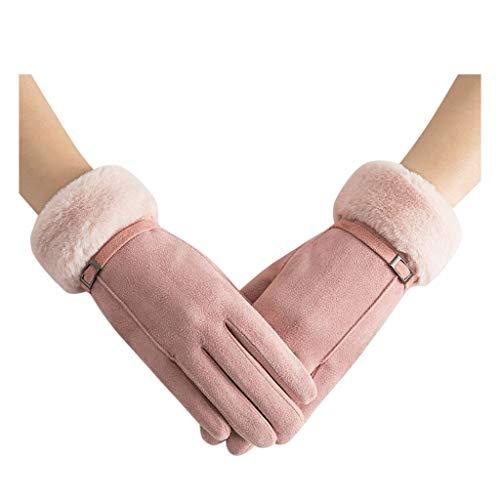 OUMIFA Guantes Guantes de Invierno for Mujer Guantes de Color Sólido for Mujer Guantes Elegantes de muñeca de Felpa Guantes de Conducción de Esquí Guantes de recreación al Aire Libre (Color : Pink)