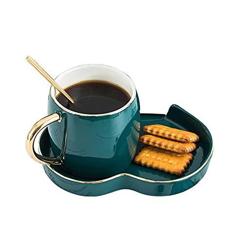 XDYNJYNL Taza de café y platillo Verde de Porcelana, 6.76oz / 200 ml Americano Eco-Friendly Latte Espresso Cups Tazas de té con asa Capuchino Tazas de Desayuno Taza de Desayuno tumblers de Beber Taza