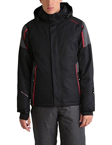 Ultrasport Davos - Giacca invernale da uomo - Giacca da sci o snowboard con tecnologia Ultraflow 10.000 - Giubbotto da alpinismo/trekking funzionale, nero/rosso, M