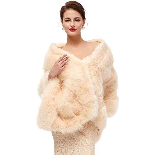 LXJZTC Kunstpelz Wickeln warme große Schal Winter Hochzeit vertuschen Stola Braut Accessoires Mode Frauen Fell Achselzucken Jacke handgefertigt